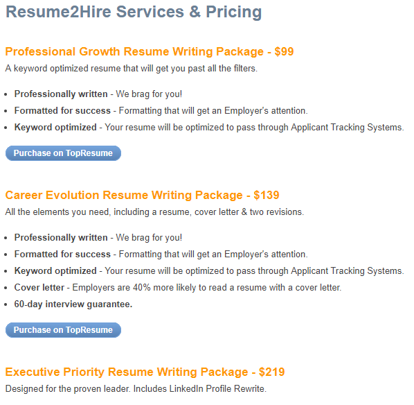 prices resume2hire