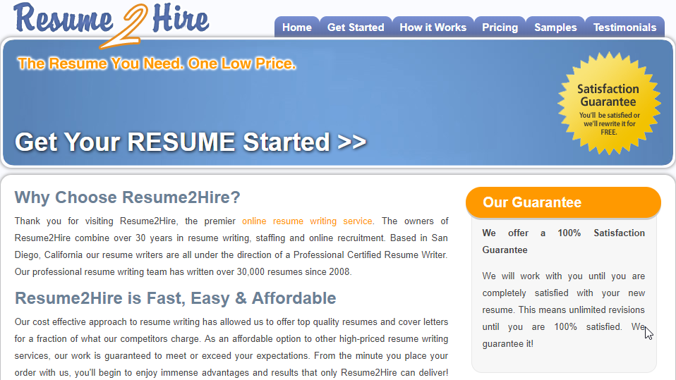 resume2hire homepage