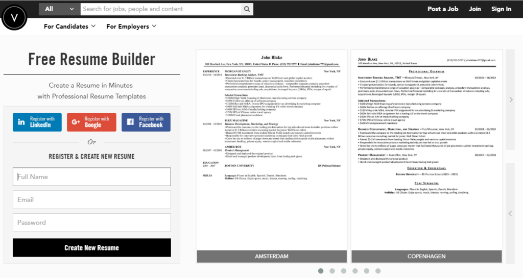 VelvetJobs Resume Builder